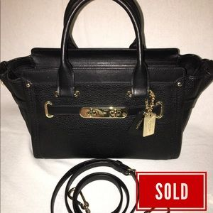 SOLD! COACH Black Leather SWAGGER 27 Satchel